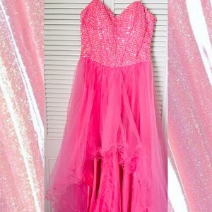 Strapless Sparkly Pink Ruffle-Skirt Dress